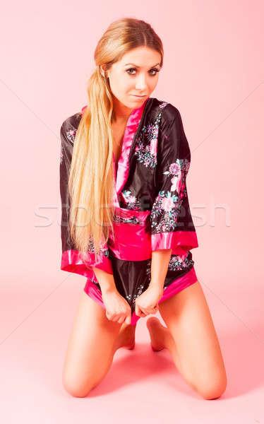 beautiful woman in japanese kimono Stock photo © Aikon