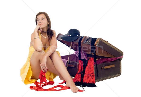 Genç güzel kadın bavul çekici kız durum beyaz Stok fotoğraf © Aikon