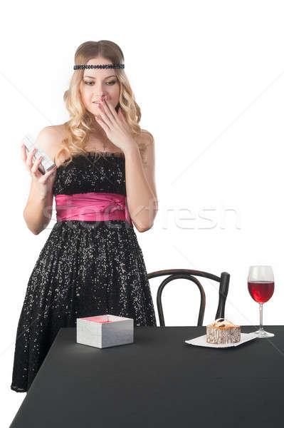 Mooie jonge vrouw verwonderd geschenk jonge aantrekkelijke vrouw Stockfoto © Aikon