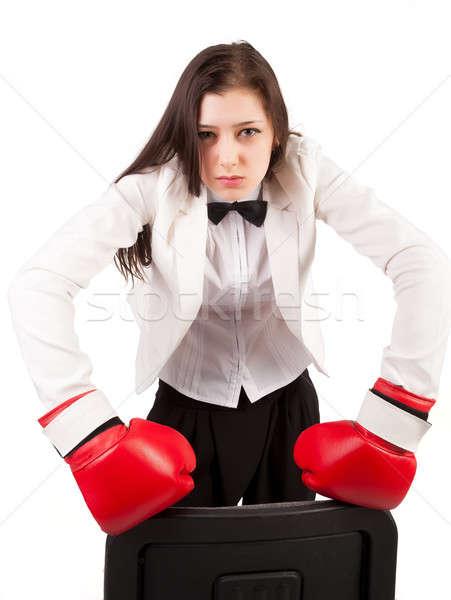 Jonge boos zakenvrouw bokshandschoenen aantrekkelijk business Stockfoto © Aikon