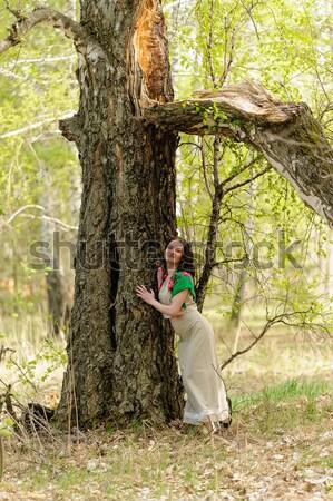 Mujer hermosa abedul jóvenes mujer bonita pie forestales Foto stock © Aikon