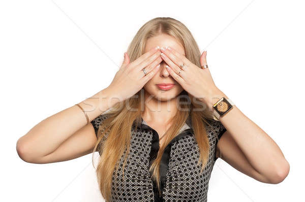 Pretty woman in See No Evil gesture Stock photo © Aikon