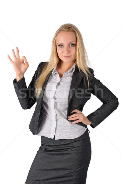 Attractive woman shows thumb up Stock photo © Aikon