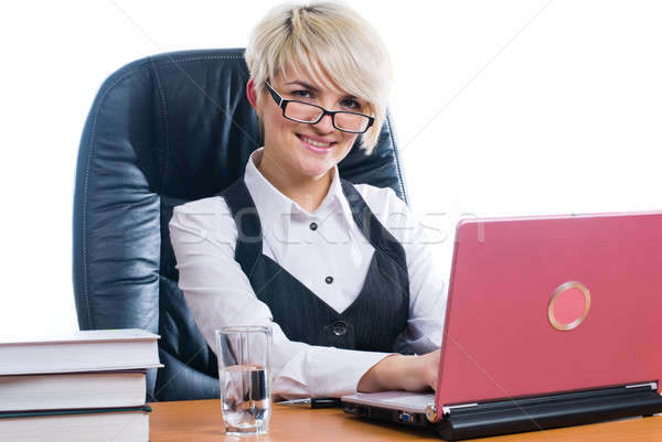 Businesswoman with laptop Stock photo © Aikon