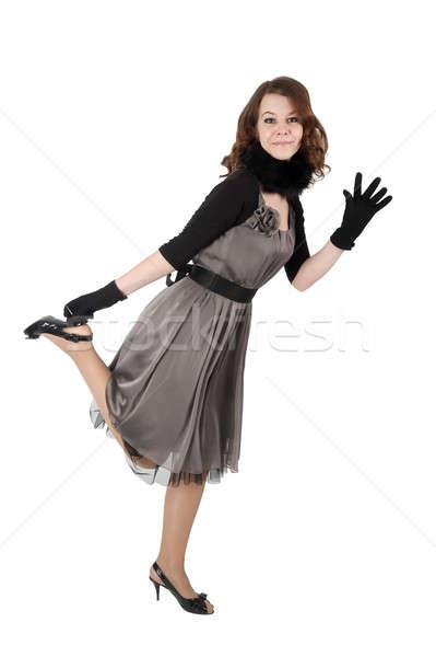 Bela mulher jovem mulher bonita cinza vestir posando Foto stock © Aikon