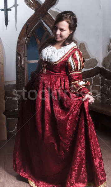 Portret elegante vrouw middeleeuwse tijdperk jurk Stockfoto © Aikon