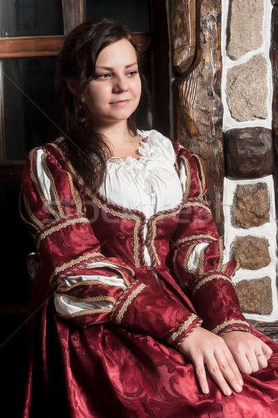 きれいな女性 赤いドレス レトロな バロック スタイル 中世 ストックフォト © Aikon