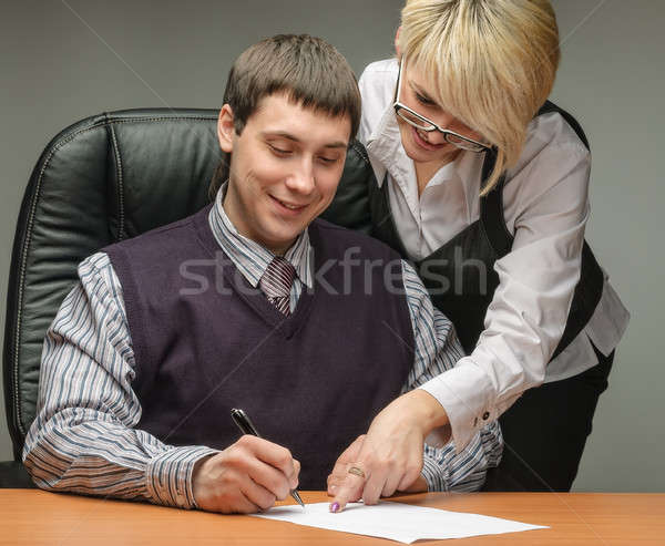 business woman and a businessman with document Stock photo © Aikon