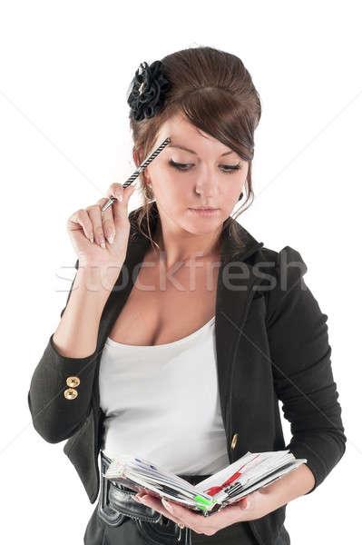 Retrato mujer de negocios organizador bastante sorprendido estudiante Foto stock © Aikon