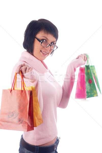 Winkelen meisje jonge vrouw zakken geïsoleerd vrouw Stockfoto © Aikon