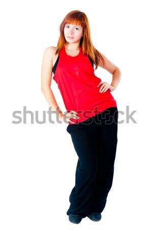 Csinos hiphop táncos fiatal gyönyörű nő tánc Stock fotó © Aikon