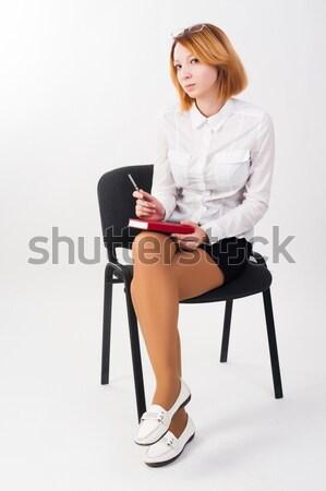 Stock fotó: Csinos · lány · boxkesztyűk · szék · fiatal · szőke · nő