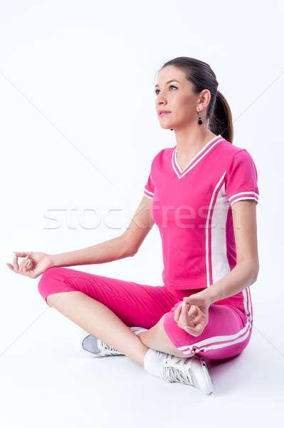 Aantrekkelijke vrouw yoga oefening jonge geschikt Stockfoto © Aikon