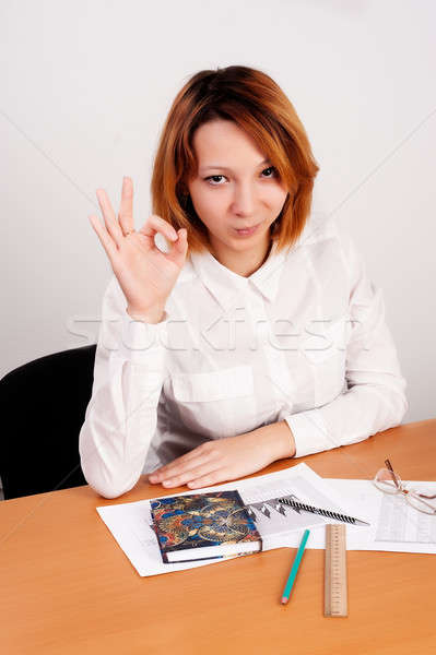business analyst woman with ok gesture Stock photo © Aikon