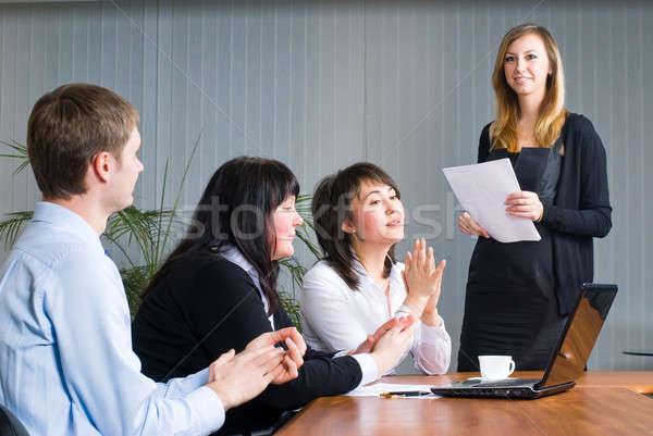 Foto stock: Mulher · negócio · apresentação · jovem · empresária