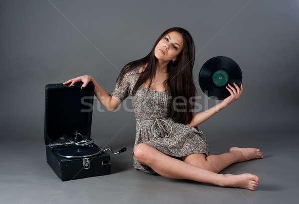 Güzel kadın gramofon güzel bir kadın gri kız güzellik Stok fotoğraf © Aikon