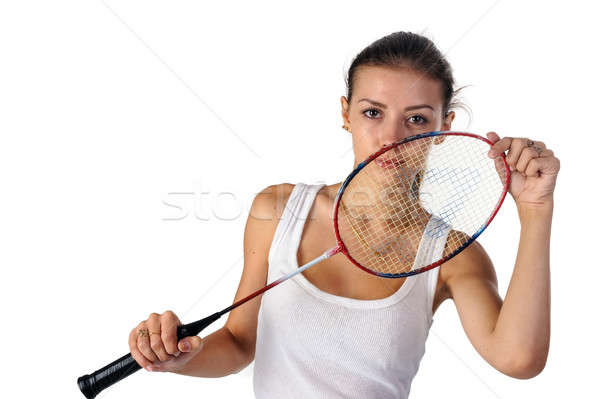 Belle fille badminton raquette mains joli s'adapter Photo stock © Aikon