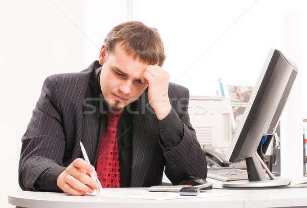 Stockfoto: Jonge · zakenman · werken · kantoor · vergadering · bureau