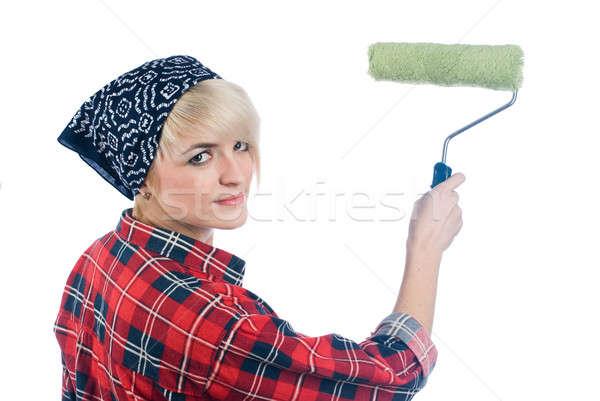 Nő festő fiatal nő otthon izolált ház Stock fotó © Aikon