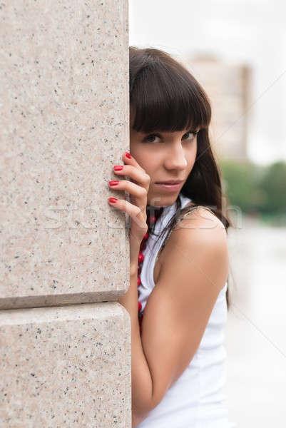 красивая женщина портрет молодые привлекательный печально женщину Сток-фото © Aikon