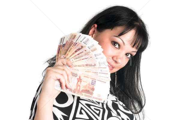 Pretty woman with cash Stock photo © Aikon