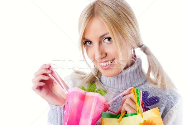 Сток-фото: довольно · улыбаясь · девушки · счастливым · торговых
