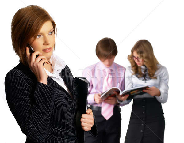 Businesswoman at office background Stock photo © Aikon