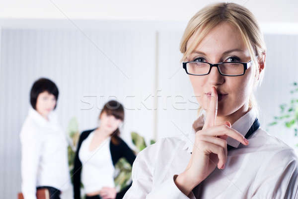 Mujer signo silencio tranquilo ejecutivo hablar Foto stock © Aikon