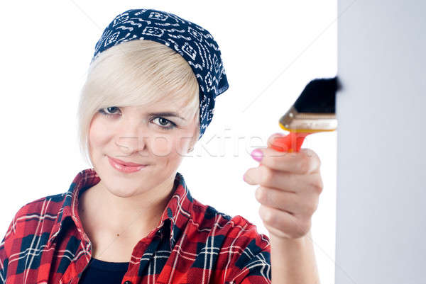 若い女性 絵筆 ブロンド 画家 赤 ストックフォト © Aikon