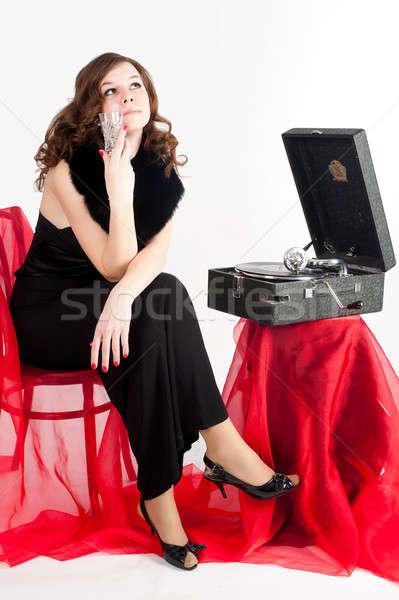 Güzel bir kadın gramofon güzel genç kadın dinlemek müzik Stok fotoğraf © Aikon