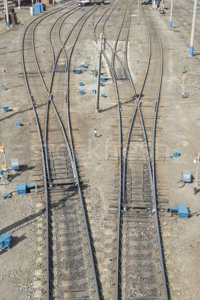 Spoorweg knooppunt punt verschillend weg achtergrond Stockfoto © Aikon
