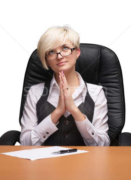 Jonge zakenvrouw dame vergadering stoel Stockfoto © Aikon