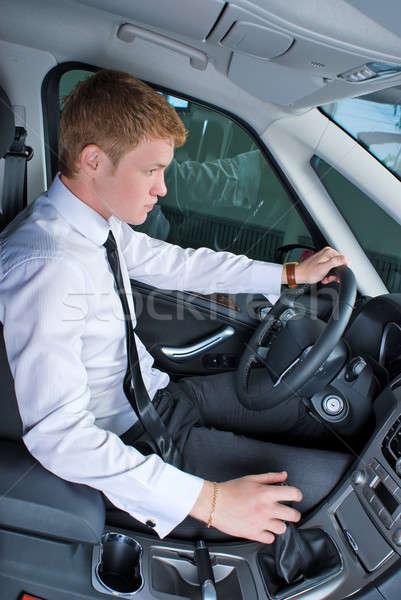 Stockfoto: Rijden · man · jonge · man · auto · positie