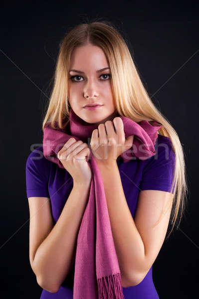 молодые шарф моде девушки сирень Сток-фото © Aikon