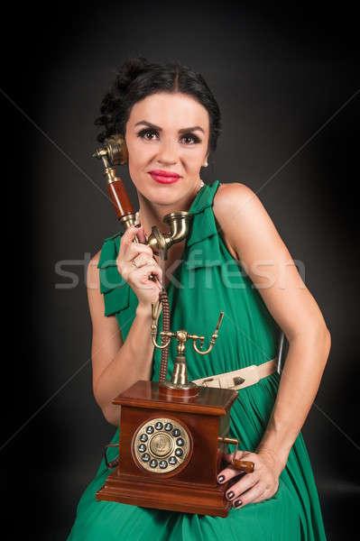 Güzel kadın Retro telefon konuşma bağbozumu Stok fotoğraf © Aikon