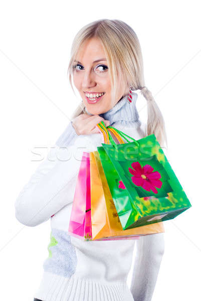Pretty shopping girl Stock photo © Aikon