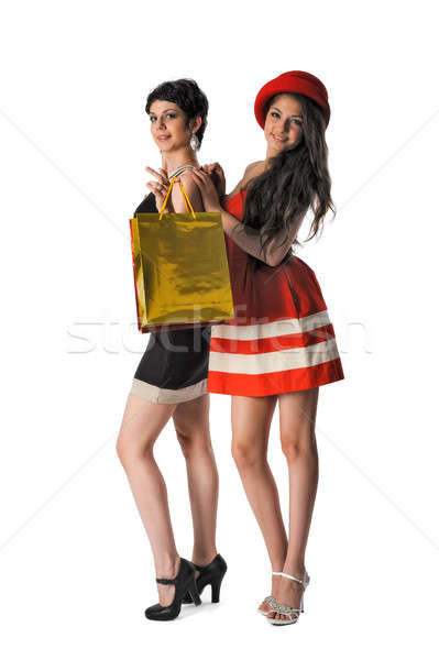 Two Pretty girls holding shopping bags Stock photo © Aikon