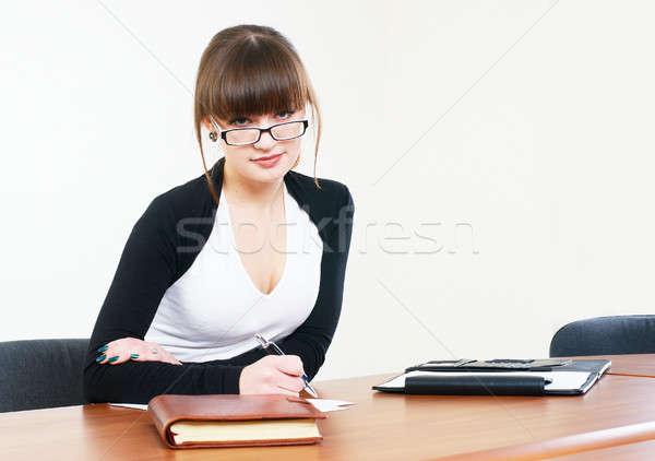 Portré üzletasszony szervező vonzó iroda személyes Stock fotó © Aikon