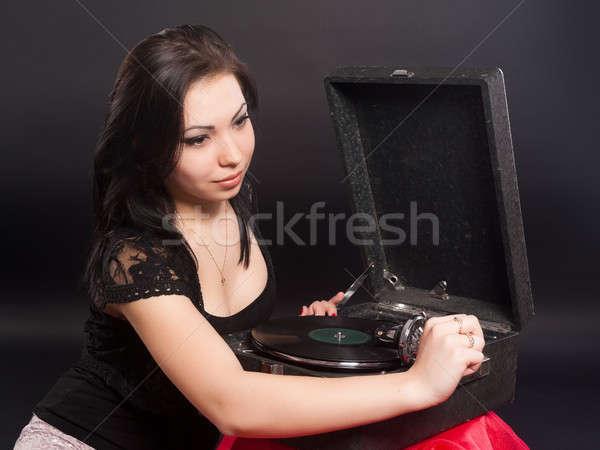 Stock fotó: Csinos · nő · gramofon · gyönyörű · nő · fekete · nő · lány