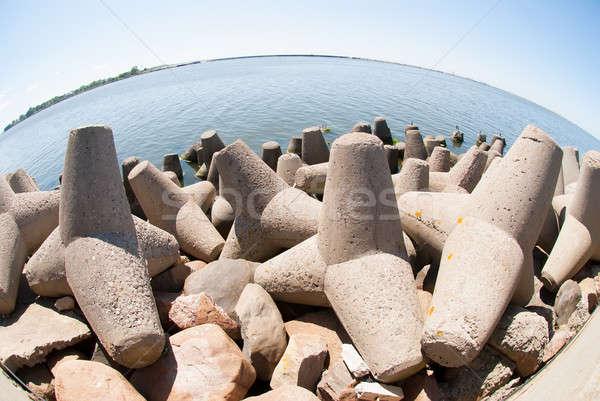 Concrete breakwater of Baltic sea channel Stock photo © Aikon