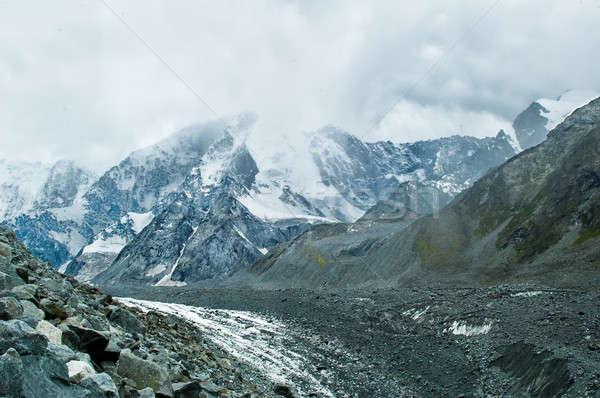 Gleccser csúcs égbolt hegy nyár kő Stock fotó © Aikon