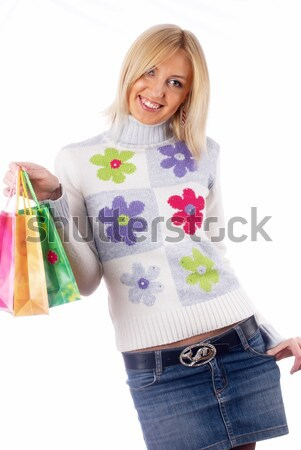 Pretty woman with hand in hair Stock photo © Aikon