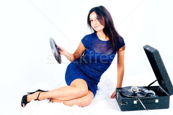 Güzel kadın gramofon güzel bir kadın beyaz kız konuşmacı Stok fotoğraf © Aikon