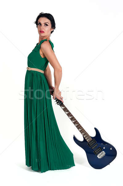 Pretty woman in long dress with guitar Stock photo © Aikon