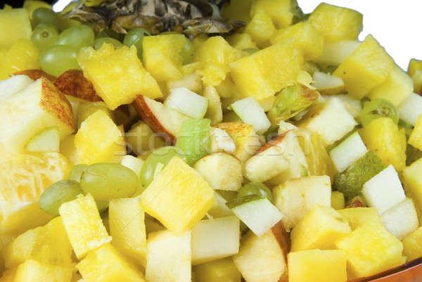 Gyümölcs mix friss gyümölcssaláta tányér természet narancs Stock fotó © Aikon