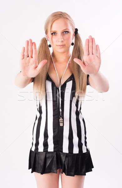 Futebol árbitro pare gesto jovem Foto stock © Aikon