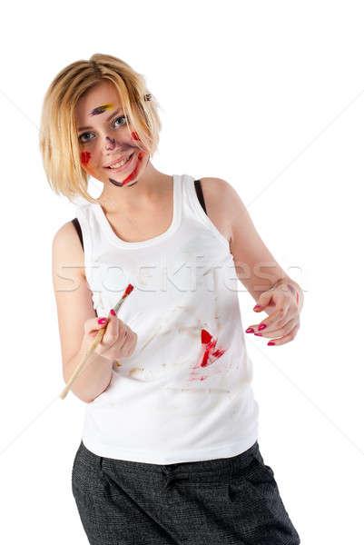 Bastante sucia femenino pintor hermosa jóvenes Foto stock © Aikon