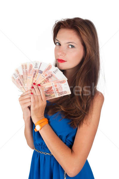 Young pretty woman with freckles holds cash Stock photo © Aikon