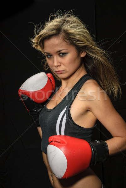 Sexy jonge blond vrouw Rood bokshandschoenen Stockfoto © Aikon
