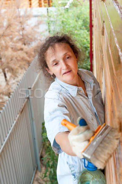 Pretty woman paints her wooden house Stock photo © Aikon